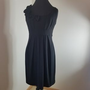 A.BYER Black Dress With Flowers Along the Neck